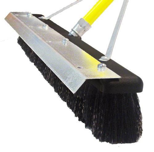 "18"" Floor Brush - STIFF Plastic Bristle, Foam Head w/Multi Blade"
