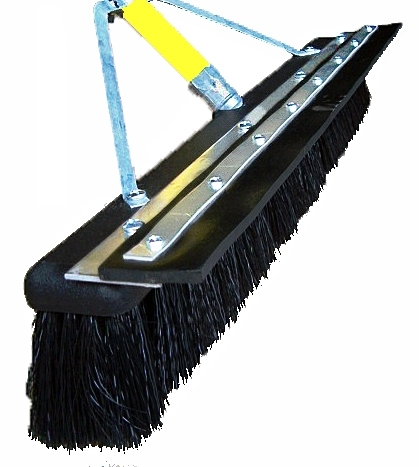 "18"" Floor Brush - SOFT Plastic Bristles, Foam Head w/Squeegee Blade"