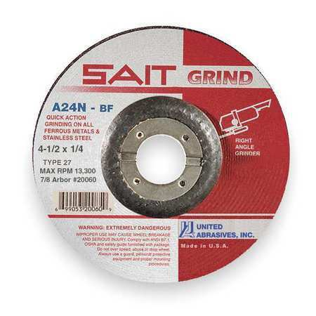 "SAIT Depressed Center Grinding Wheel, 4.5"" x 1/4"" x 7/8"", T27, A24N"