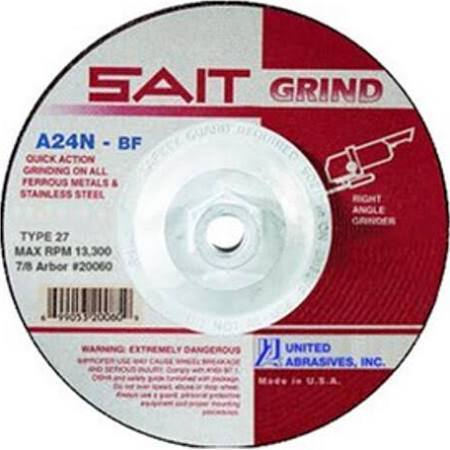 "SAIT Depressed Ctr T27 9"" x 1/4"" x 5/8-11"" Grinding Wheel"