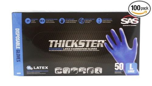 SAS Thickster Textured Exam Grade Latex Gloves, Powdered (L)