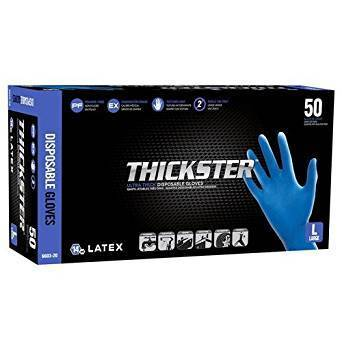 SAS Thickster Textured Exam Grade Latex Gloves, Powder Free (L)