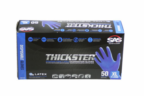 SAS Thickster Textured Exam Grade Latex Gloves, Powder Free (XL)