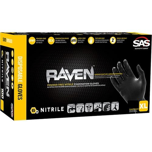 SAS Raven Nitrile Gloves, Powder-Free, (XL) 25 Packs of 3 Pairs