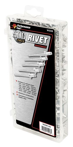 PERFORMANCE TOOL Rivet Assortment, 500 Pcs