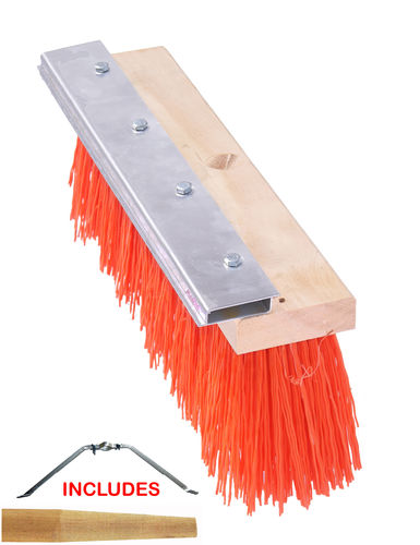 "16"" Orange Plastic Street Broom w/ Magnetic Blade"