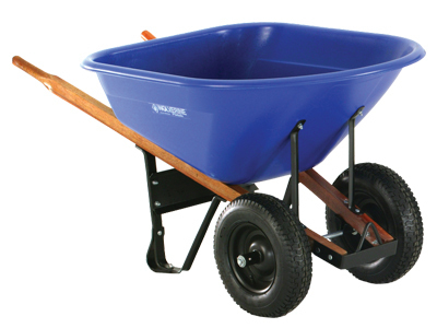 "WOLVERINE 8 Cu Ft Poly Tub, 4 Ply 6.5"" Wide Dual Turf Tire Wheelbarrow"