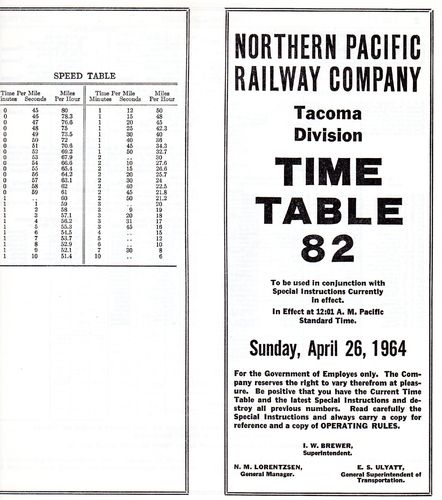 Northern Pacific Tacoma Division 1964