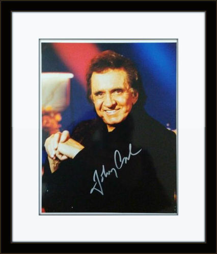 Framed Johnny Cash Photo Autograph with COA