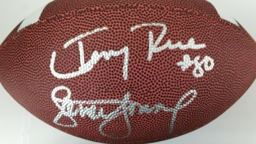 Steve Young Jerry Rice Autograph Football with COA