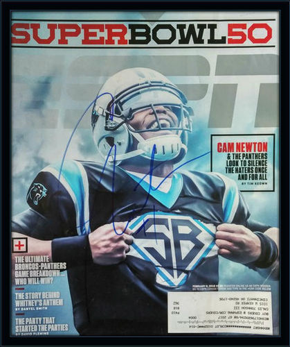 Framed Cam Newton Panthers Autographed Magazine Cover with COA