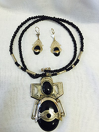 Tuareg Silver & Onyx  necklace w/ matching earrings