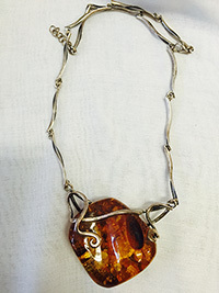 Sterling Silver and Cherry Amber necklace