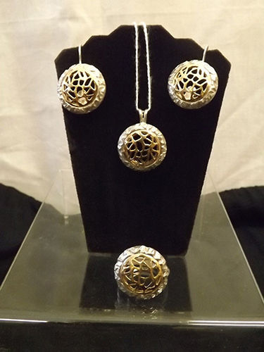 Gold and silver earring pendant and ring set