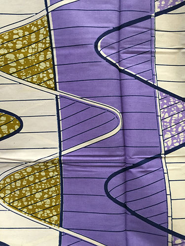 African Print Fabric - Lavender, Black, Ivory and Gold (Sold by the yard)