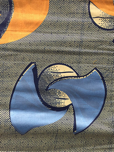 African Print Fabric - blue, orange, and olive (Sold by the yard)