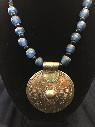 Large brass dial pendant with blue recycled class and black agate necklace