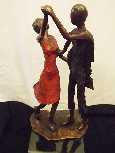 "Bronze ""stepping couple"" figurine"
