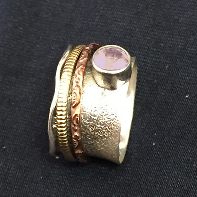 Silver, Copper, & Brass Ring w/purple gem