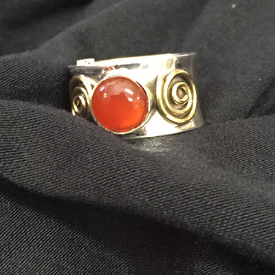 Silver & Brass Ring Agate Ring